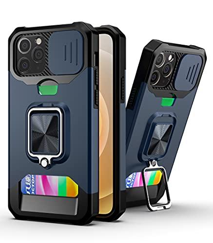 SCRENDY Cover per iPhone 6 Plus/7 Plus/8 Plus, Protezione Fotocamera Anti Graffio Hard PC Cover, TPU+PC Dual Layer Custodia Porta Carte con Cavalletto, Blu Navy