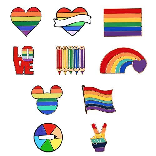 Regenbogen Pin, 10 Stück Regenbogen Emaille Pins, Regenbogen-Broschen, Emaille Pins, Broschen Für Taschen, Jacken, Kleid Zubehör, DIY Handwerk, für Kleider, Anzüge, Taschen, Rucksäcke