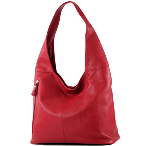 modamoda de - T166 - ital Große Schultertasche aus Leder, Farbe:Rubinrot