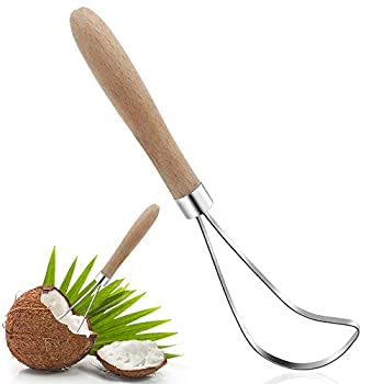 Coconut Meat Removal Tool,Meiyouju Stainless Steel Coconut Meat Scraper with Durable Wooden Handle,Coconut Scraper Slicer,Multi Purpose Fruit Knife Tool for Cantaloupe Watermelon etc.