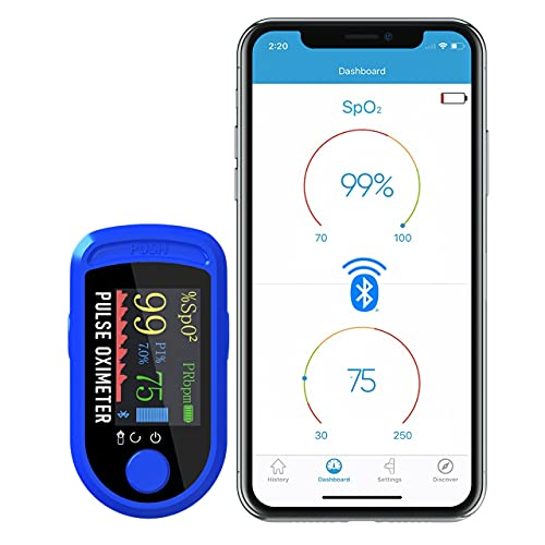 DR VAKU® Fingertip Pulse Oximeter with Bluetooth Connectivity & SpO2 Blood Oxygen Saturation Monitor, Four Directional LED Display Phone Control with Batteries