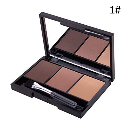 Palette de poudre sourcils 3 couleurs Kits de pour des yeux avec pinceau et miroir