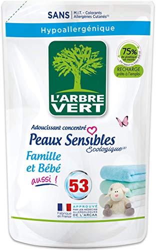 L'arbre vert Adoucissant Linge Peaux Sensibles Famille/Bébé Aussi 53 Lavages 800 ml