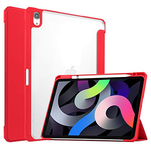 Case for iPad Air 10.9 (2020) - Tri-fold Back Cover - Transparent - Red