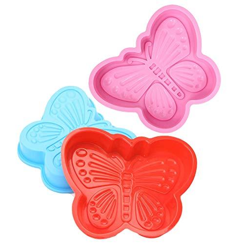 3 Stück Silikonform Schmetterling Form Antihaft Silikon Backform Kuchenform - Bundt Backform Kuchenbackform für für Kuchen, Große Gelee, Brot, Gugelhupf, Cake
