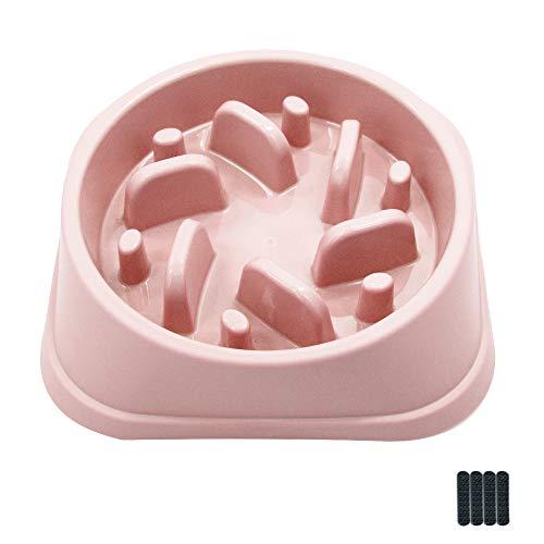 QUMENEY - Ciotola per cani con mangiatoia lenta, antiscivolo per animali domestici, resistente al soffocamento, per cani di piccola e media taglia (rosa)
