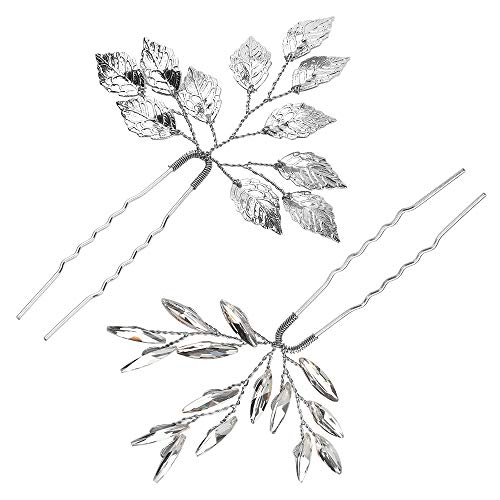 4 Haarnadeln für Hochzeit, Gast, Haar-Accessoires für Frauen, Hochzeits-Haarspangen, Silber (Silber)