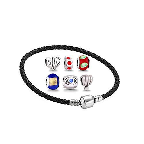 Damen Armband für Charm Beads Perle Anhänger Edelstahl Armreif Pandora style Charms kompatibel Leder 18cm