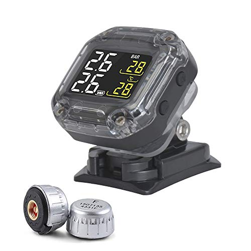 CAREUD TPMS Sistema de Control de presión de neumáticos Motor Auto Alarma de neumáticos inalámbrica a Prueba de Agua con 2 sensores para Motocicletas de Dos Ruedas (TPMS Motorcycle Updated)