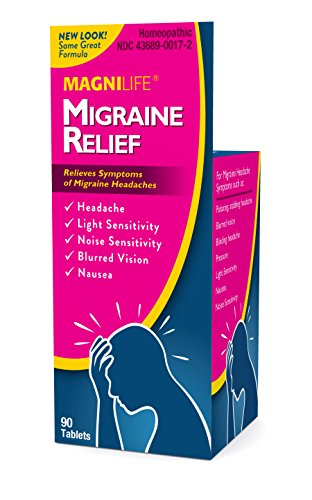 MagniLife Migraine Relief, Natural Homeopathic Ingredients - Relieves Throbbing, Pulsating, Stabbing Headaches, Nausea, Light & Noise Sensitivity, Blurred Vision - Fast Pain Relief - 90 Tablets