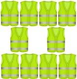 Chaleco Reflectante Amarillo - 10 Unidades - Con Bolsillo - Chaleco de Alta Visibilidad para Coche, Trabajo, Deporte