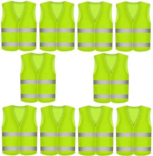 10 Warnweste Sicherheitswesten Neon Gelb - 360 Grad Sichtbarkeit - Waschbar bei 30 Grad