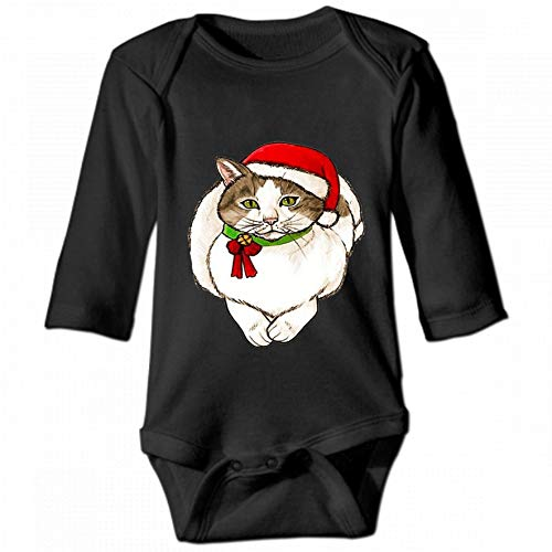 Christmas Cat Unisex Baby Round Neck Long Sleeve Bodysuit, Fashion Casual Baby Climbing Suit 6M