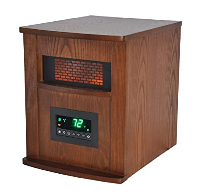 LIFE SMART LifeSmart 6 Element Quartz w/Wood Cabinet and Remote Large Room Infrared Heater, Brown