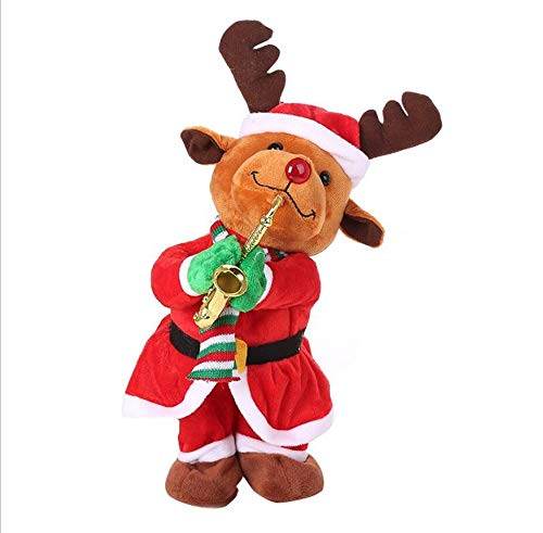 YesDone Elektrisches Weihnachtsspielzeug, Weihnachtsmann, Elch, Schneemann, spielt das Saxophon, Spielzeug, Weihnachtsgeschenk