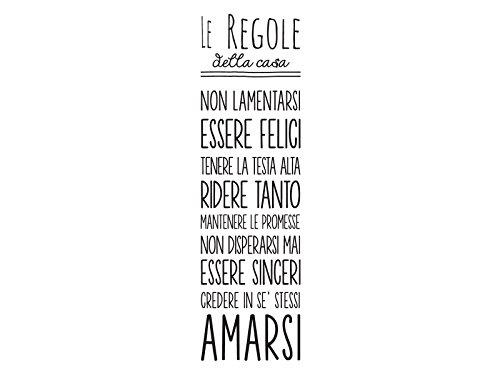 Dudecor Regole Casa Sticker Decorativo, PVC, Nero