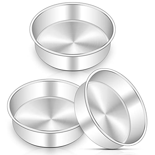 6 Inch Cake Pan Set of 3, Deedro Round Cake Baking Pans Stainless Steel Cake Pans for Wedding Birthday Layer Cake, One-piece Molding, Healthy & Durable, Mirror Finish & Dishwasher Safe