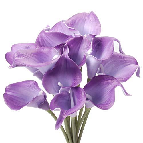 Gemdragon Unechte Blumen,Künstliche Deko Blumen Gefälschte Blumen Seiden Plastik Calla-Lilie Braut Hochzeits blumenstrauß für Haus Garten Party Blumenschmuck 12 Stück (Lila)