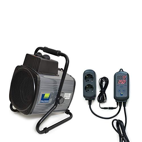 Palram Gewächshausheizung Digitale Steuerung Mittels Thermostat, Heizleistung 2400 Watt, Elektrogebläseheizung Spritzwassergeschützt für Gewächshäuser