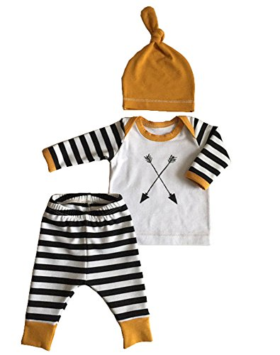 3Pcs/Set Newborn Baby Girl Boy Striped Long Sleeve Tops Pant Hat Outfits Clothes,Boys,70,0/3 Months