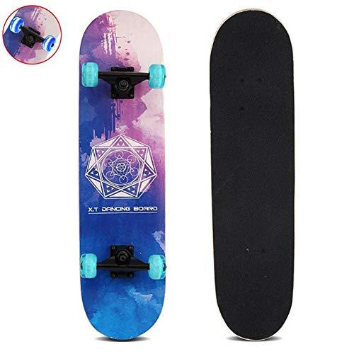 Sumeber Skateboard Komplettes Double Kick Skateboard mit blinkenden Skateboards für Anfänger, Kinder, Jugendliche und Erwachsene (Tarot Mystery)