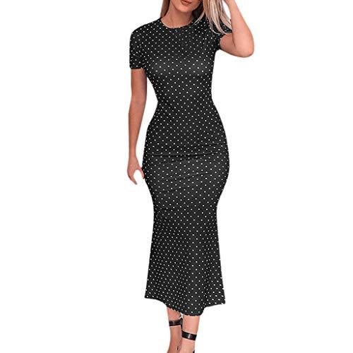 YCQUE Frauen Sommer Mode Böhmischen Täglichen Kurzen Ärmel Tasche Hüfte Sexy Vintage Hohe Taille O Hals Punkte Meerjungfrau Urlaub Asymmetrische Kleid Mid-Waden Sommerkleid