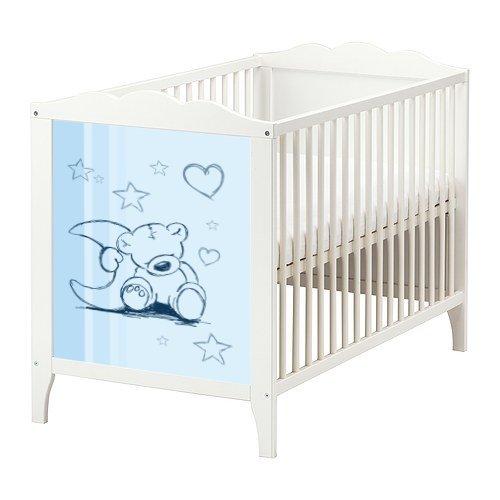 Stikkipix Teddy Aufkleber in blau für das Babybett Hensvik von IKEA - BB01 - Möbel Nicht Inklusive