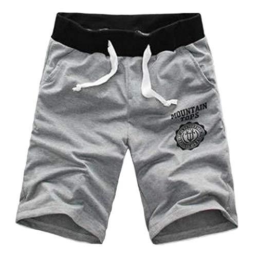 Hommes Shorts Moitié D'Été Plage Imprimé Coton Respirant Mode Casual en Plein Air Hommes Pantalones Doux Shorts XXXL Gris