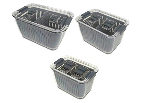 Kitchen Spaces Gray Colander Bin Variety Pack Fridge Organizer Easy to Clean Produce Produce Storage Keep Vegetables Fresh Three Sizes 2494A6AMZ