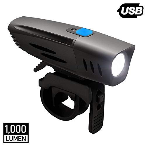 DONPEREGRINO F1 – 1000 Lúmenes Luz Bicicleta Potente Delantera con Sensor Ambiental, LED Faro Bici Pro Impermeable y Recargable USB para Ciclismo MTB y Carretera