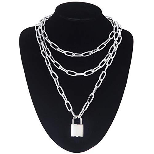Daman Lock Chain Necklace With Padlock Pendants Women Men Punk On The Neck Aesthetic Accessories,silver color