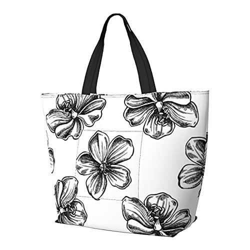 Patrón sin costuras con bolsa de hombro de prado en blanco y negro multifuncional de gran capacidad, bolso de tableta, bolsa de trabajo ligera, bolsa de viaje para el semanario