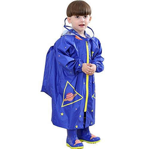 Kinder Poncho Regenponcho Regenjacke Regenmantel Regenpelerine Wasserdichtmit Schule Rucksack Position, 2-4 Jahre