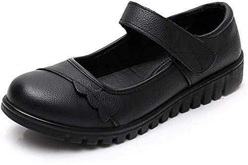 [Nomioce] レディースシューズ オフィス ナースシューズ レディース安全靴 本革 革靴 パンプス ウォーキングシューズ 通勤 モカシン 軽量 疲れにくい 長時間立ち仕事 大きいサイズ 履きやすい 23.5cm 黒37