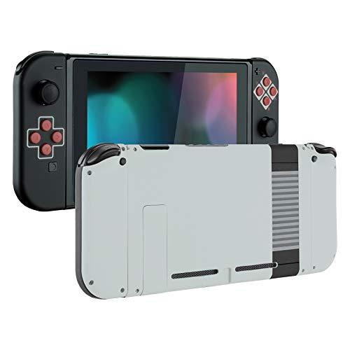 eXtremeRate Cover con Kit di Pulsanti Ricambio per Nintendo Switch,Soft Grip Custodia Posteriore Console Case Guscio Joy-Con Controller DIY Ricambio per Nintendo Switch(Stile NES)