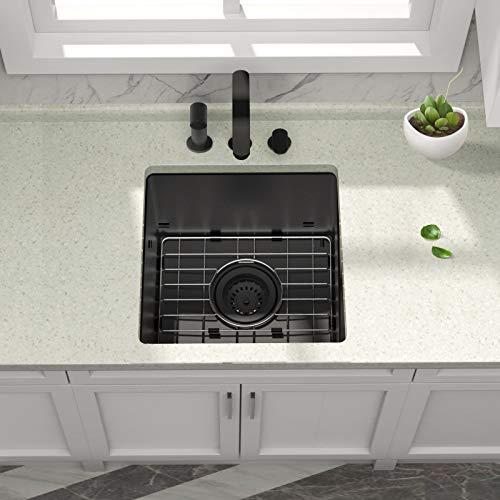 Black Bar Sink Undermount - iBune 15x15 inch Bar Prep Kitchen Sink 16 Gauge Gunmetal Black Stainless Steel Undermount Single Bowl Kitchen Sink Basin (15x15x8 inch)
