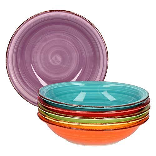 Service d'assiettes creuses 6 pièces Assiettes creuses unies colorées Assiettes de service 750 ml Vaisselle de table bol à muesli buffet à salade Plats en grès résistant au four