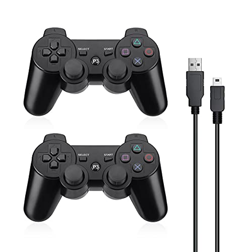 Powerextra Controller PS3 2 Pack Wireless Bluetooth PS3 Controller Doppio Shock Wireless ad Alte Prestazioni per Playstation 3 Console di Gioco per Console di Gioco Dual Shock con Cavo di Ricarica