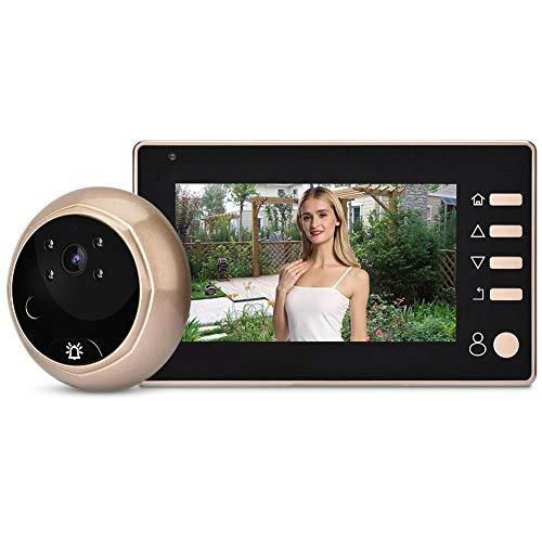 ASHATA Video Timbre de la Cámara,Kit Mirilla Digital para Puerta para Seguridad de Casa/Oficina/Hotel,etc. 8,3 Inch Pantalla LCD,Función de Visión Nocturna IR,Impermeable IP55,Modo Cámara/Video(Oro)