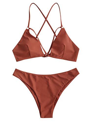 ZAFUL Damen Push Up Sommer Beachwear Bademode Braun S
