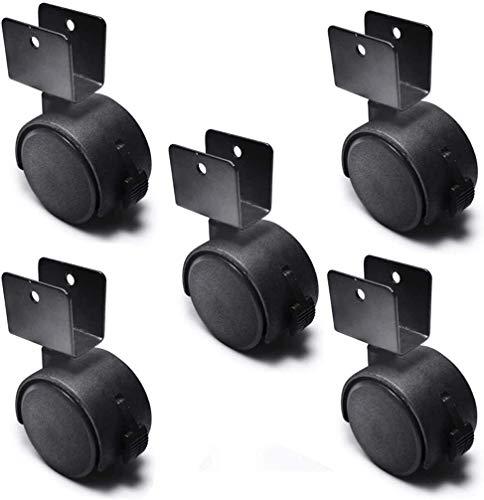 Rueda giratoria en forma de U, ruedas para muebles de 2 pulgadas con frenos, zapatero de repuesto / ruedas giratorias, protege tu piso, nailon (paquete de 5) (color: negro, tamaño: 66 x 50 x 20 mm)