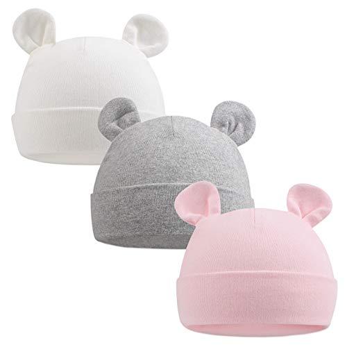 Pesaat Gorro de bebé recién nacido niña gorro bebé niño gorro de algodón para 0-6 meses bebé Unisex gorro de primeros pasos blanco+rosa+gris 0-6 Meses