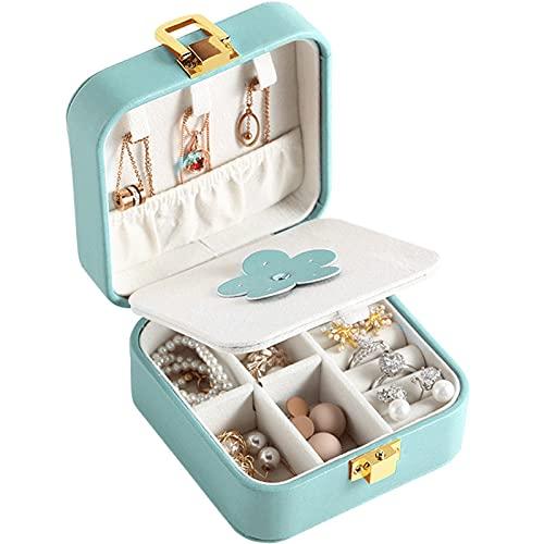 JIEGEGE Jewelry Box, Mini Función Mini Caja de Cuero Pendientes Anillos Organizador de Titular con Espejo Viaje Portátil Portátil Formado Cuadrado Partamentos (Color : Green)