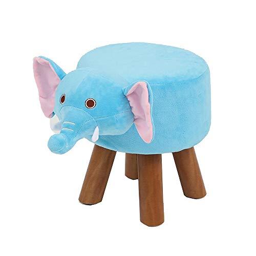 YumEIGE Kruk Cartoon-stijl, blauwe olifant, massief hout + pluche, geschikt voor thuis/kleuterschool, voor gebruik in de kinderdagverblijven, semel, massief houten kruk belasting 100 kg