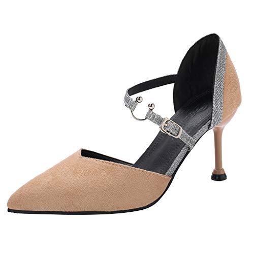 Sandalias De Mujer De Tacón Alto, Sexy Zapatos Da Punta Puntiaguda con Boca Baja Hebilla De Palabra Hueca Sandalias Bajas Sandalias con Cinturón Vacío Zapatos