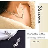 Unicra Parure collier et boucles d oreilles en argent avec strass pour mariée