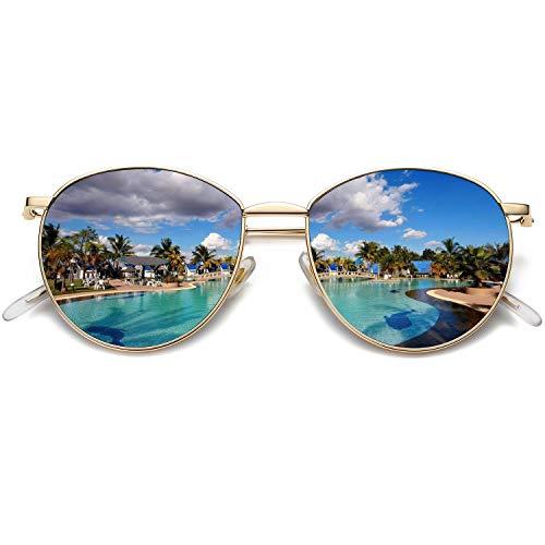 FAGUMA Round Polarized Sunglasses for Women Men Metal Frame 100% UV Protection