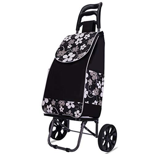 Grote en lichte inklapbare boodschappentrolley op wielen met waterdichte, afneembare tas geschikt voor boodschappentjes voor oude mannen 2 ronden.