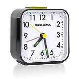 sanlinkee Despertador Analogico Portátil Despertador Silencioso Despertador Pequeño Despertador con Repetición y Luz Nocturna para Dormitorio Sala de Estar Cocina Oficina, Negro
