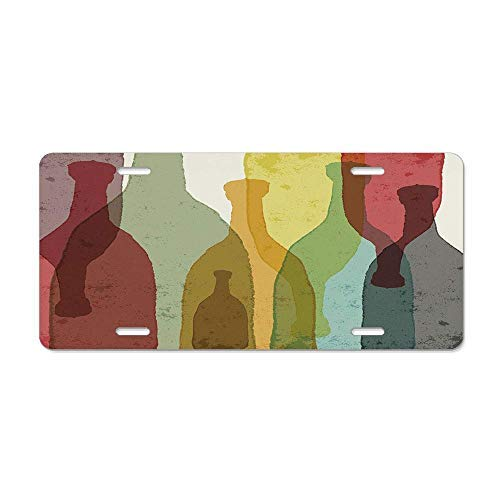Dant454ty Wijn, Abstract Samenstelling Aquarel Silhouettes Flessen Wijnwhisky Tequila Vodka, Multi kleuren Decoratieve Front License Plate Frame,Vanity Tag
